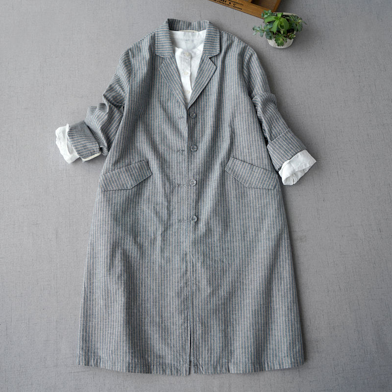 Spring Autumn New Arrivals Women All-match Casual Loose Plus Size Japanese Style Striped Comfortable Linen   Trench   Coats 2 Colors