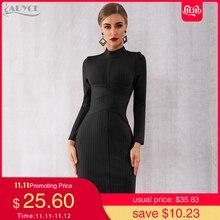 Adyce 2019 New Winter Bodycon Bandage Dress Women Sexy Long Sleeve Midi Club Dress Vestidos Black Celebrity Evening Party Dress
