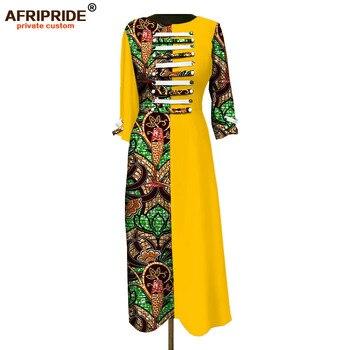 2019 الفساتين الأفريقية للنساء فضفاضة عارضة س الرقبة طويلة الأكمام نسيج الأفريقي الشمع batic القطن الخالص فستان ماكسي AFRIPRIDEA1825016 1