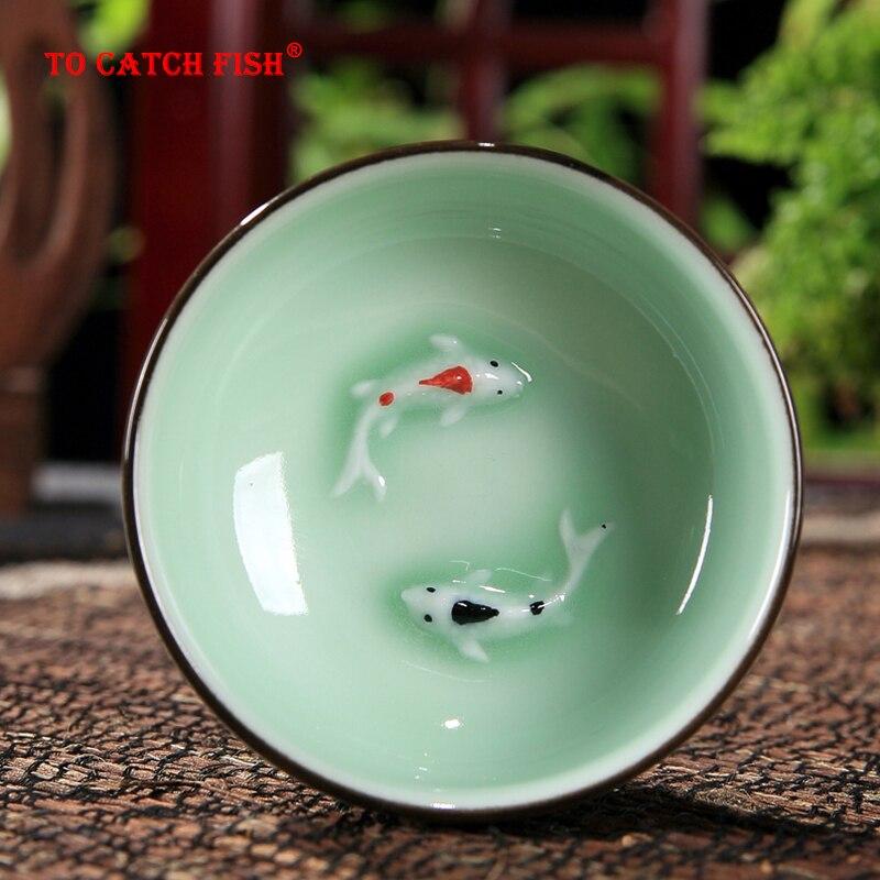 Китайский Longquan Celadon фарфор 1 шт. чайная чашка, китайские чашки чайные чашки и чайное блюдце чаша для чая Золотая Рыба 60 мл китайский заварочны...