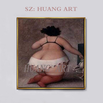 Artist Hand-painted Fat Woman Portrait Oil Painting on Canvas Beautiful Woman Figure Big Butt Oil Painting for Wall Decoration