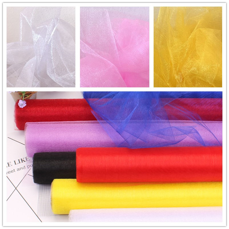 5M 10M Organza Wedding Chairs Cover Sheer Crystal Organza Tulle Roll Fabric Party Decoration Mariage Home Decoration Accessories