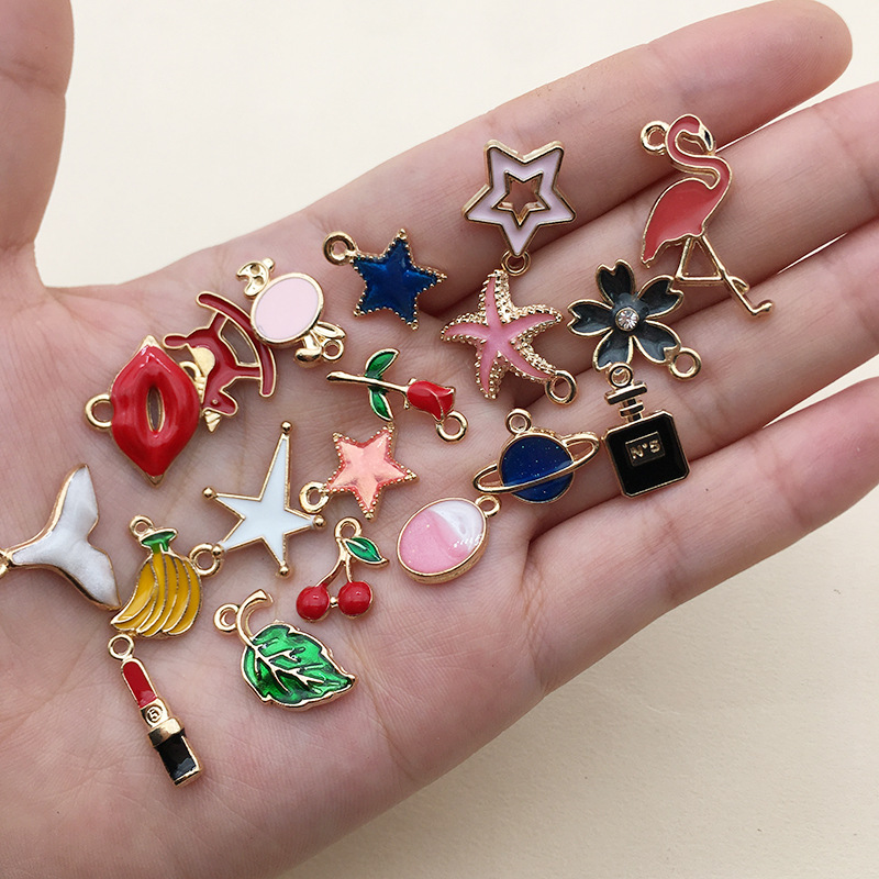 100pcs Mixed Style Colorful Enamel Charms Pendant For Jewelry Making DIY Necklace Bracelet Handmade Jewelry