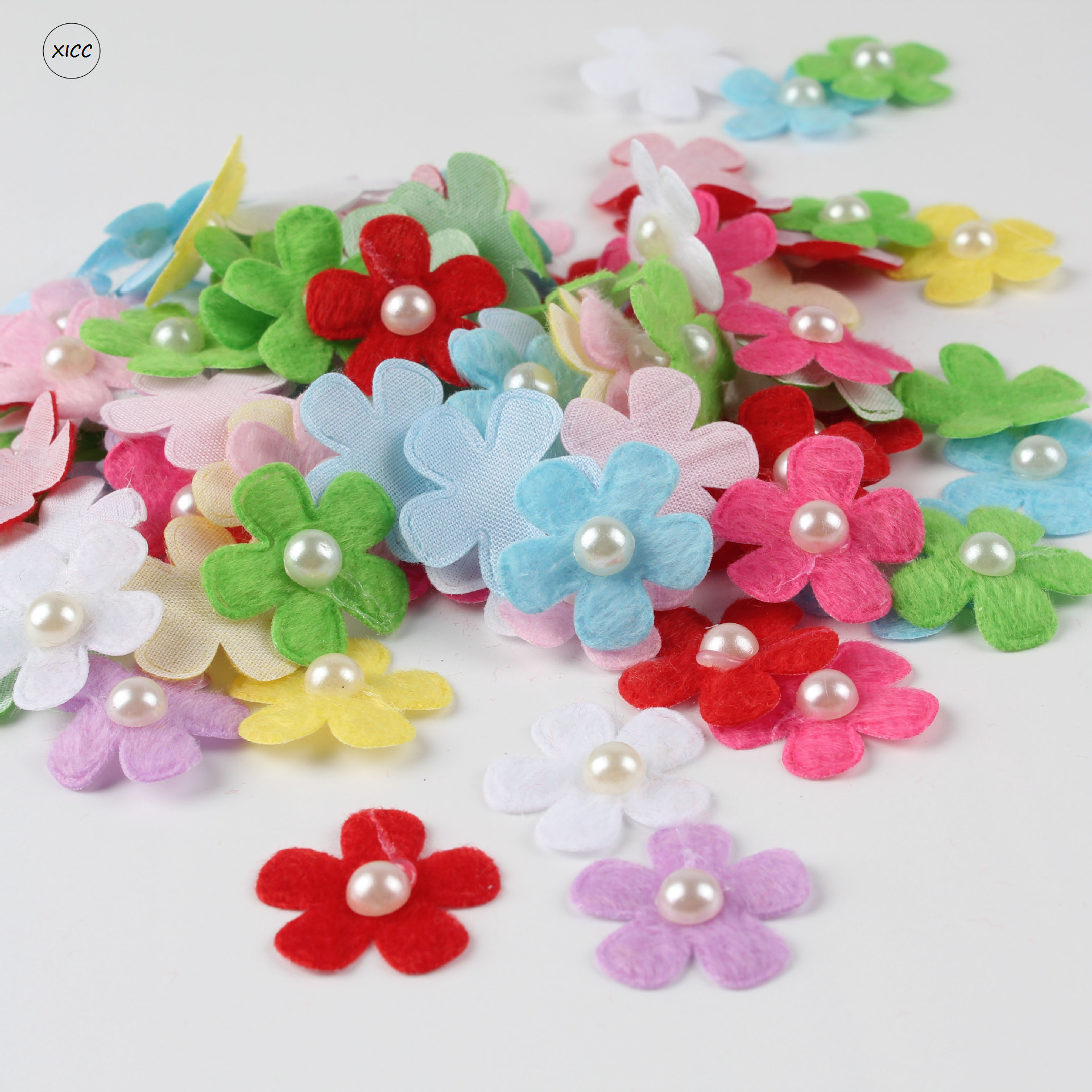 XICC 100PCS Colorful Pearl Flower Wool Felt Fabric Cloth Hair Rope DIY Handmade Accessories Sticker Applique Patches Felt Pad