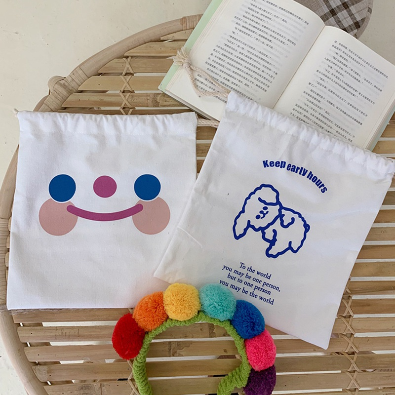Cute Durable Cloud Smile Drawstring Bags Women Cute Pattern Pocket Girl Storage Carrying Case Puppy Bunch Pocket Drawstring Bag