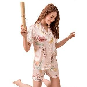 Image 2 - Conjunto de Pijamas cortos de primavera y verano para mujer, camisas de manga corta con pantalones, traje para casa, ropa femenina para mujer, pijamas sexis