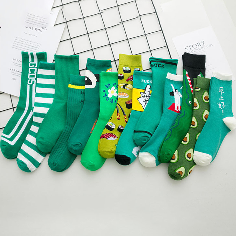 Harajuku Green Color Socks Women Men Letters Print Long Cotton Socks Unisex Funny Socks Femme Streetwear Calcetines Hombre