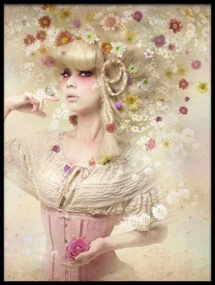 Seis-Combinação de imagem Como UM Cão Da Menina de Flor do Jardim de Flores Pinturas Lona do Óleo Imagem do Poster para Cozinha decoração da parede