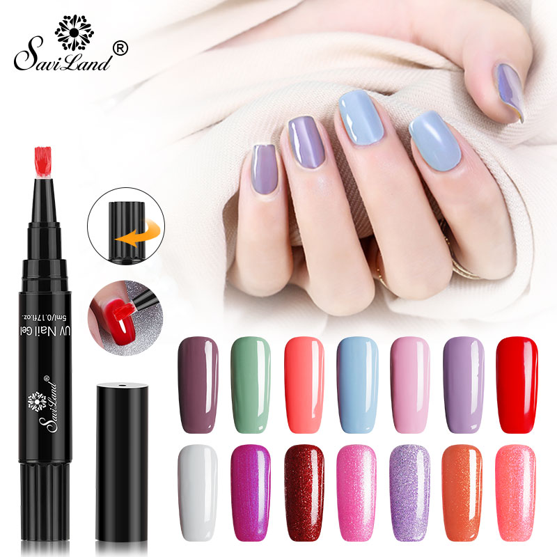 Saviland Faster Shipping Nail Gel Varnish Pencil One Step Gel Nail Pen No Need Top Base 3 In 1 UV Gel Lacquer Glitter Polish