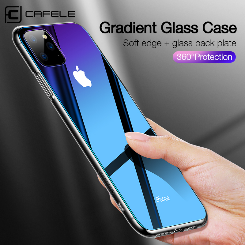 Cafele Gradient Glass Phone Case for iPhone 11 pro MAX Tempered Glass and TPU Edge Case Cover for iPhone 11 pro max Anti Scratch