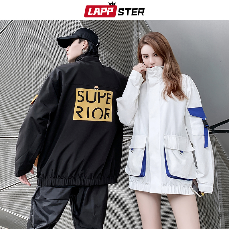 LAPPSTER Men Pockets Black Bomber Jackets Windbreaker 2020 Mens Japanese Streetwear Korean Jackets Couple Color Block Coats