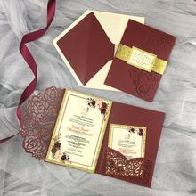 Borgonha com corte a laser triplo, cartões de convite para casamento, fita envelope, faixa de convite, quinceanera, 1 peça