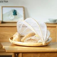 Handmade Woven Bug Proof Basket Dustproof Picnic Basket Fruit Vegetable Bread Cover Wicker Basket with Gauze Woven Basket