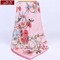BOSI 2020 Fashion Pink Flower print Silk Scarf for Women Fashion Satin Scarf Luxury Brand Shawl 70*70cm Square Scarves wholesale