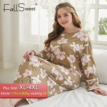 FallSweet Plus Size Night Dress Women Prited Sexy Sleepwear long Nightgown Summer Nighties for Women XL to 4XL