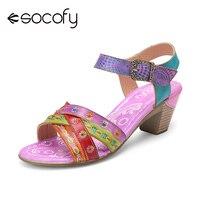SOCOFY Frauen Ethnischen Stil Sandalen Colorblock Cross Strap Spleißen Gedruckt Echtem Leder Haken Schleife Comfy Chunky Heels Sandalen