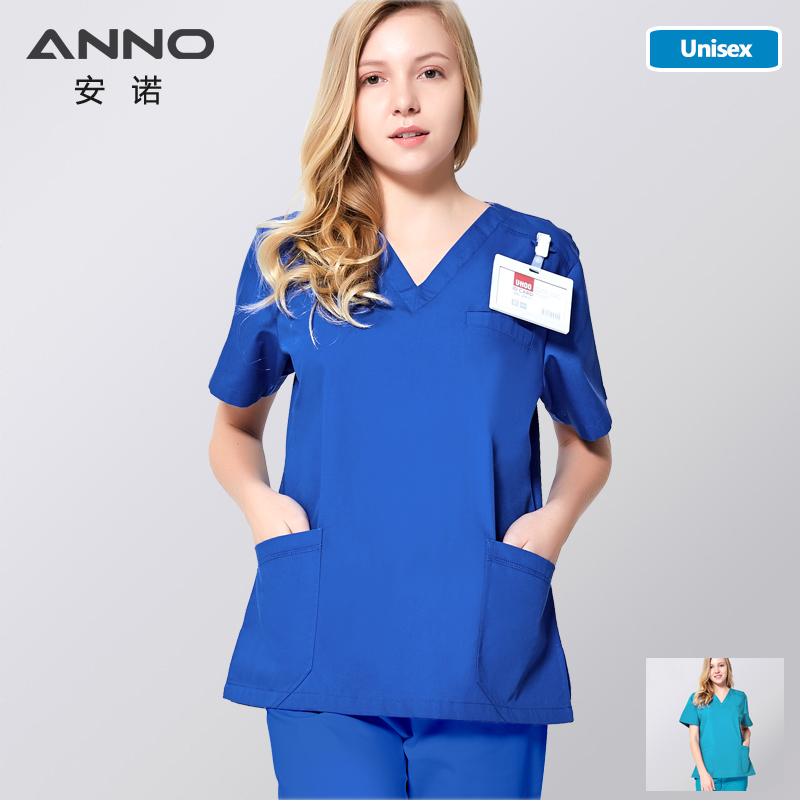 ANNO Medical Scrub Set Uniform For Women Clinical Clothes Blue Nursing Surgical Gown Summer Short Sleeve Hospital Form