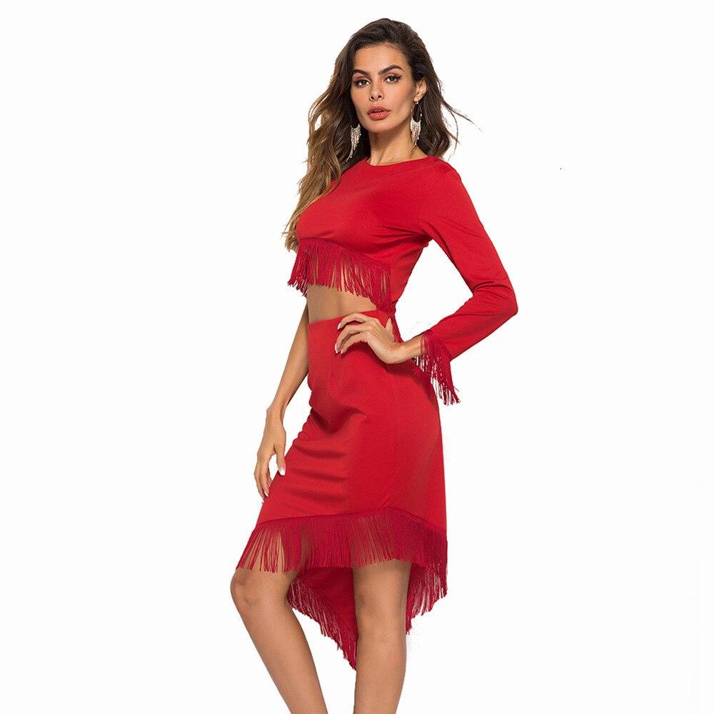 2019 Autumn Summer Fashion Tassel Crop Top Dress Women Long Sleeved Irregular Empire Mid calf Holiday Party Dresses Streetwear