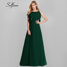 Women Long Summer Dresses 2019 A-Line Solid O-Neck Ruffles Sexy Maxi Vintage Dark Green Chiffon Sweet Party Night Dress