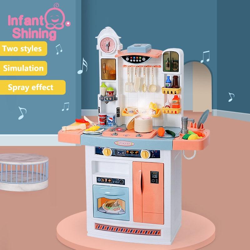 Infant Shining Children Kitchen Kid's Kitchen Toy Simulation Spray With Kids Kitchen Set For Kids Cooking Toy Set Games