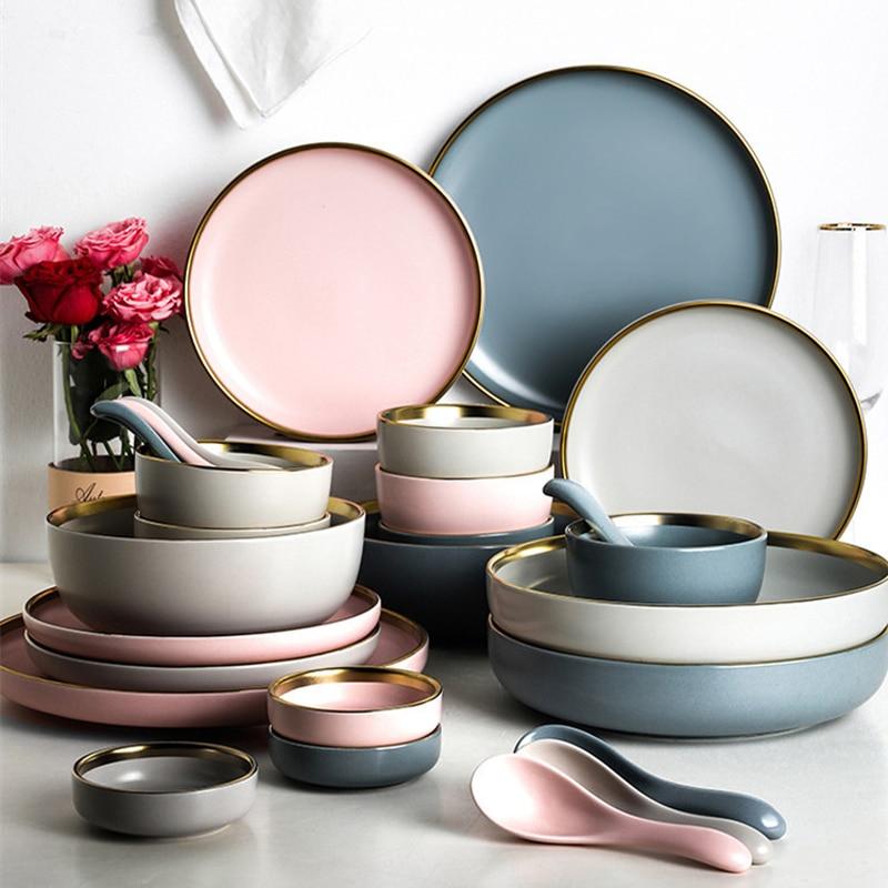 Одноцветная керамическая тарелка с золотой инкрустацией, тарелка для стейка, тарелка для еды в скандинавском стиле, посуда, миска для десер...