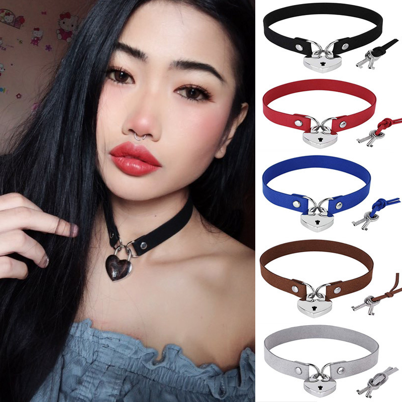 punk heart necklace Simple Punk Velvet Sexy Taste Bound Heart ai xin suo Collar Necklace Neck Clavicle  jewelry