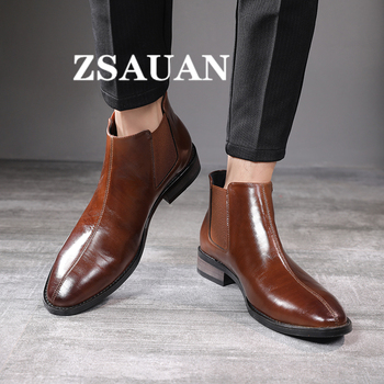 ZSAUAN British Business Style Men Ankle Boots Chelsea Men Pointed Toe Fashion High Top Boots Men Leather Vintage Boots