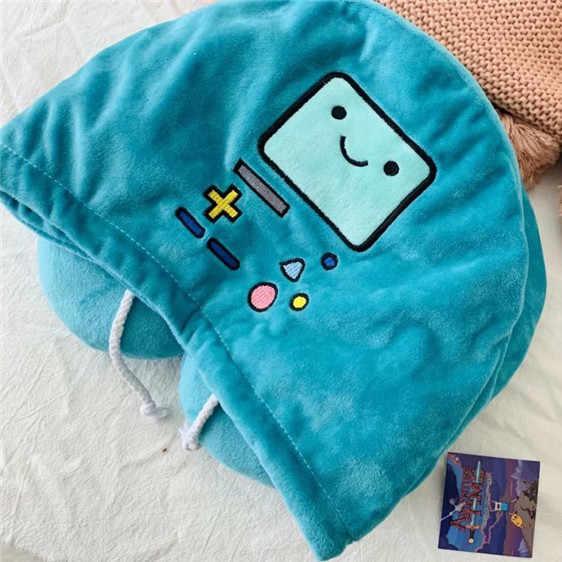 Almohada en forma de U Adventure Time, almohada para el cuello, para viaje, para coche, almohada suave para la siesta Cervical, almohada con gorro cómoda, regalo de alta calidad