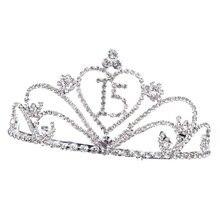Diadème couronne en strass, bijoux, numéro 15, coiffure Baroque, accessoires Photo, couvre-chef pour anniversaire, 1 pièce