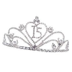 1pc Jewelry Crown Number 15 Rhinestone Headdress Baroque Crown Tiara Photo Props Headwear for Birthday