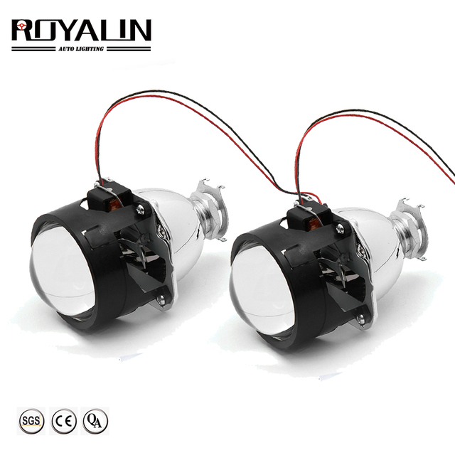 ROYALIN Bi Xenon HID H1 Mini Projector Lens 2.5 Auto Headlight Halogen Lens Hi/Lo Beam for H4 H7 Car Styling Bulb Retrofit DIY