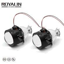 Royalin バイキセノン hid H1 ミニプロジェクターレンズ 2.5 自動ヘッドライトハロゲンレンズ hi/lo ビーム H4 h7 車スタイリング電球レトロフィット diy
