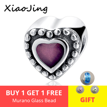 New arrival Handmade love heart beads 925 Silver Charms with purple enamel Fit original pandora Bracelet jewelry making Gifts