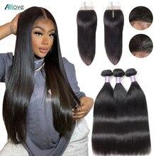 클로저로 스트레이트 번들 Allove 페루 인간의 머리카락 묶음 비 레미 4X4 중간 부분 레이스 클로저와 번들