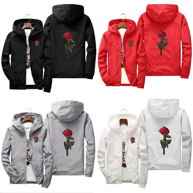 Unisex Men Women Rose Embroidered Hooded Hoodie Coat Jacket Casual Windbreaker Jacket Outdoor Sport Running Coat Lovers Clothing