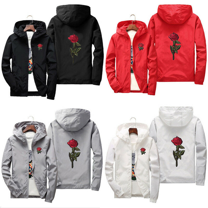 Unisex Men Women Rose Embroidered Hooded Hoodie Coat Jacket Casual Windbreaker Jacket Outdoor Sport Running Coat Lovers Clothing