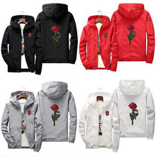 Unisex Men Women Rose Embroidered Hooded Hoodie Coat Jacket