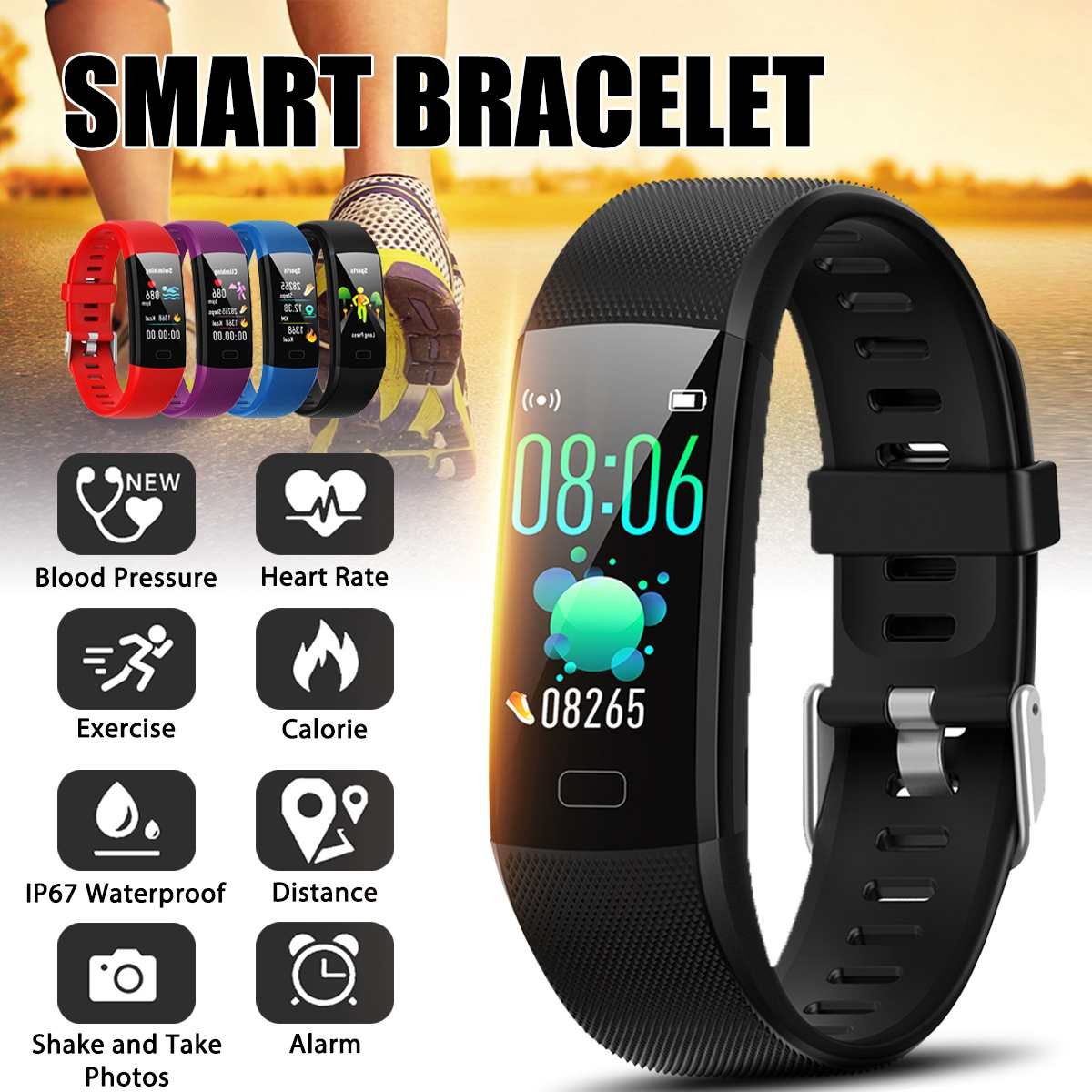 Sports Smart Watch Bracelet Wristband Heart Rate Blood Pressure Blood Oxygen Sleep Monitor Women Men Fitness Smartwatch