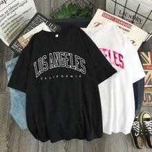 Camiseta de manga corta con estampado de Los Ángeles para mujer, camiseta estampada con letras de Estados Unidos, camiseta informal de gran tamaño Y2k de verano