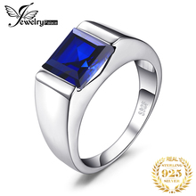 Mens Created Blue Sapphire Ring Genuine 925 Sterling Silver Men Wedding Band Jewelry Gift for Fathers Day Anniversary Birthday