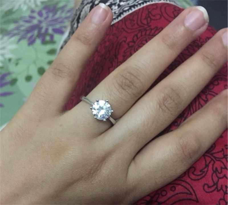 100% anillos de boda de plata maciza Real para mujer Set 6mm Sona CZ Diamoant anillo de compromiso 925 anillos de plata pura joyería fina