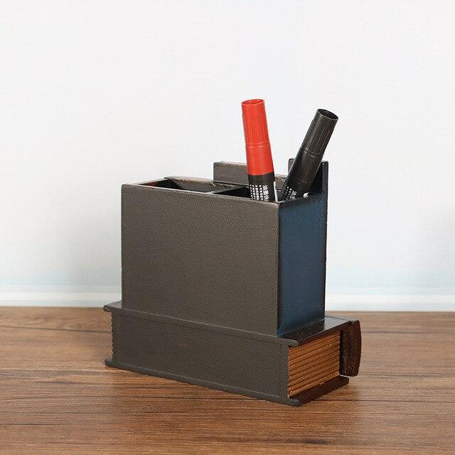 Porte-stylo en bois rétro européen créatif faux livre multifonction tiroir décorations de bureau stylo conteneur classique fournitures de bureau