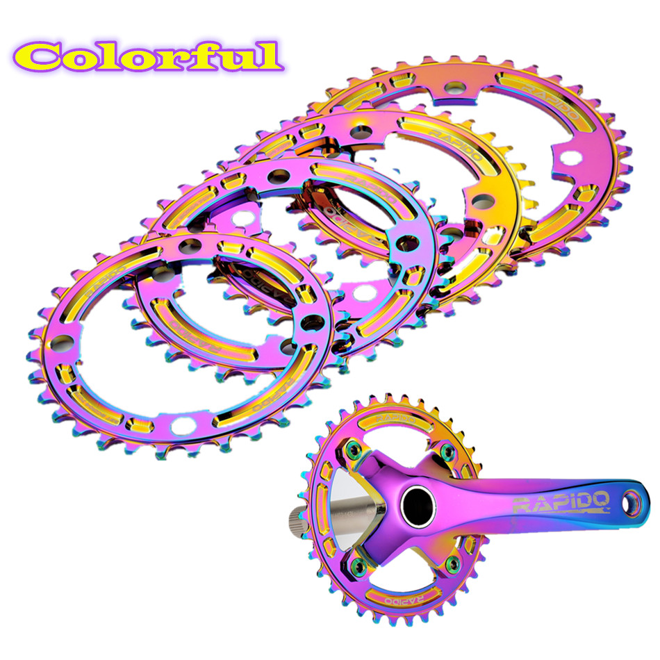 Colorful Round Narrow Wide Chainring Crown MTB Mountain bike bicycle 104BCD <font><b>32T</b></font> 34T 36T 38T crankset Tooth plate Parts ALU 7075 image