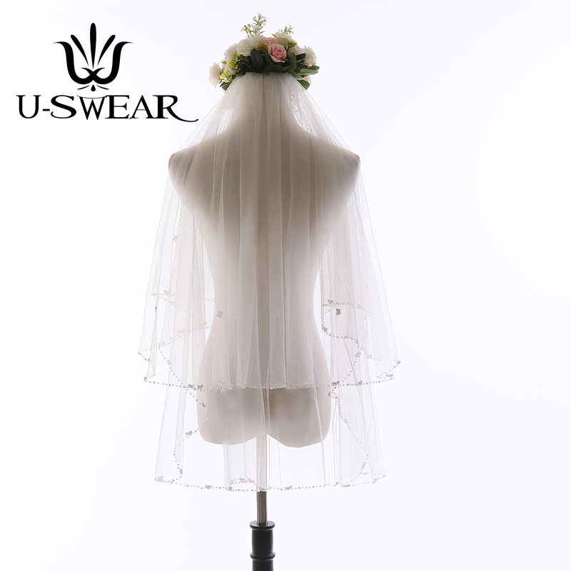 New Arrival  Bridal Veil Netting Soft  Wedding Accessories Beaded Veils Women Two Layers Sequin Bead Edge Wedding Veil With Comb