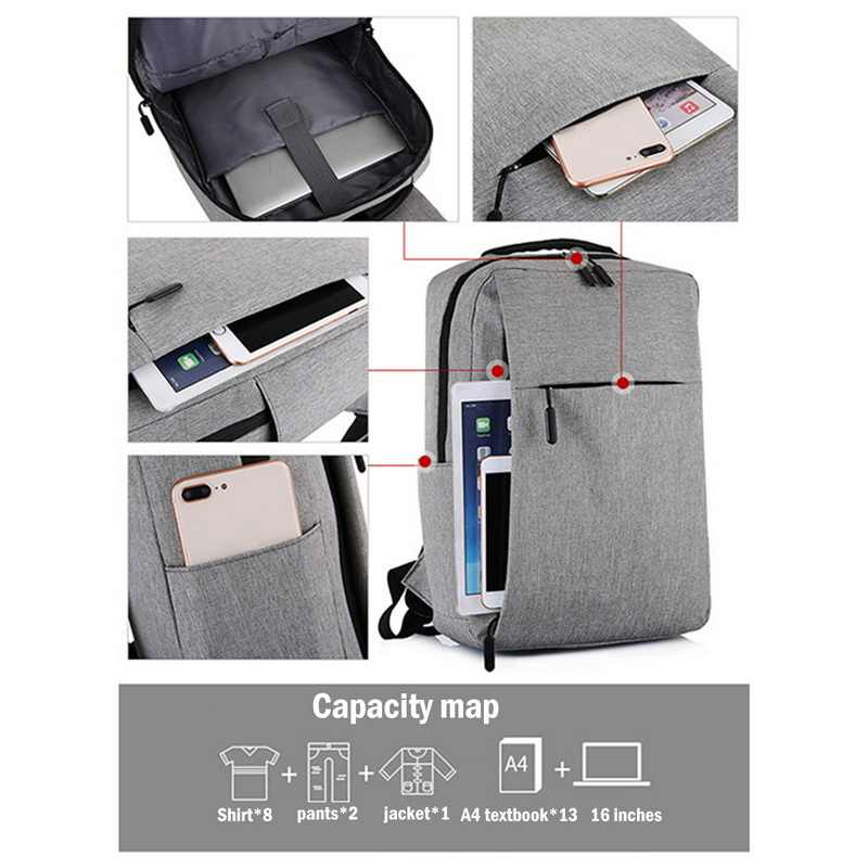 Dihope Ba Lô USB Nam Ba Lô Laptop 16 Inch Backbag Du Lịch Daypacks Nam Schoolbag Giải Trí Chống Trộm 4 Màu