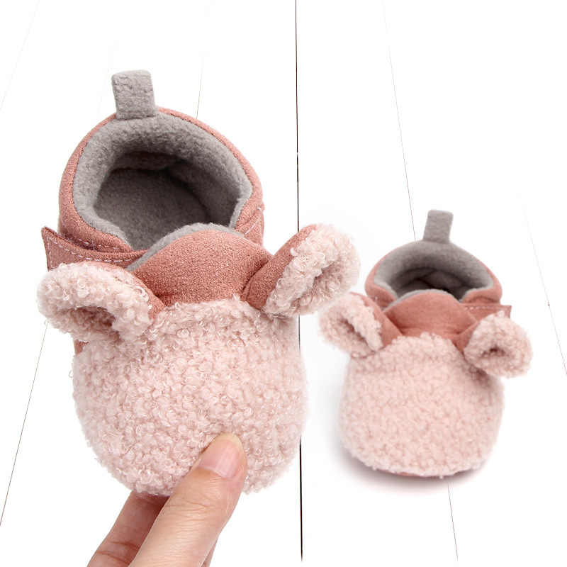 Baby Teddy Velvet Anti-Slip Padded Mother And Child Toddler Shoes 0-1-Year-Old Applicable Cute Baby Cotton 2028