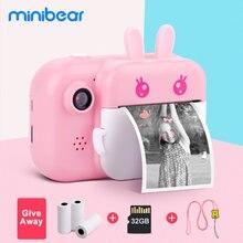 Minibear aparat dziecięcy dla dzieci aparat natychmiastowy cyfrowa kamera wideo na zdjęcie dzieci aparat fotograficzny zabawki dla dziewczynki chłopiec urodziny prezenty