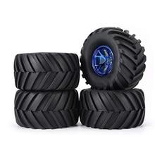 цена на 4Pcs Wheel Rim Tire Set for 1/10 RC Monster Truck Traxxas HIMOTO HSP HPI Remote Control RC Truggy Car