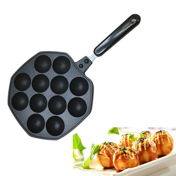 12-Holes Takoyaki Octopus Pan Maker Cake Pops Maker Cake Cook Tools No-Stick Mold Pan Maker Japanese Takoyaki Pancake Maker