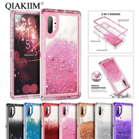 Heavy Duty Protect Armor Case For Samsung Galaxy Note 20 10 9 8 S20 S10 S8 S9 Plus S10e S7 Cover Glitter Quicksand Phone Cases